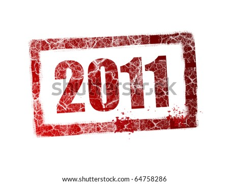 Red 2011 stamp on white background, Illustration - stock photo