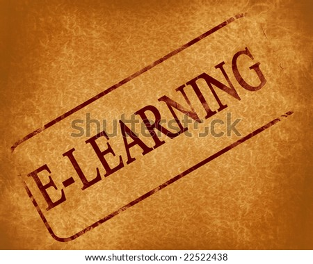red stamp with e-learning written on it - stock photo