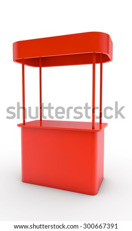 red stand for display of advertizing production - stock photo