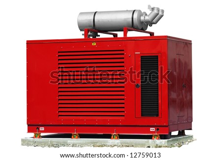 Red standby generator, electric power plant [names removed]. - stock photo