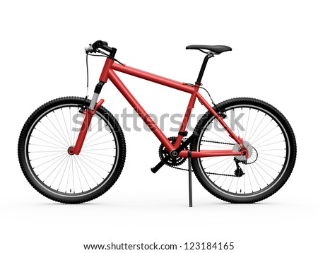 Red standing mountain bicycle, isolated on white background. - stock photo