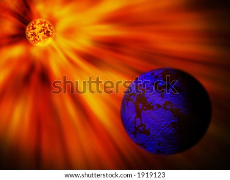Red star and blue planet - abstract - stock photo