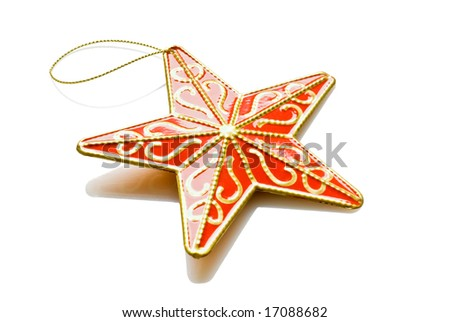 red star christmas decoration isolated over white background - stock photo