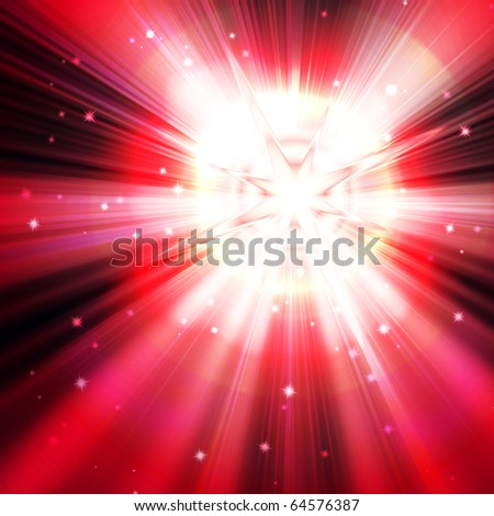 red star flash, on a dark background - stock photo