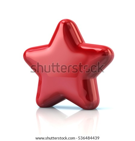 Red star icon 3d rendering on white background