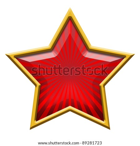 Red Star in Gold, isolated on white - stock photo