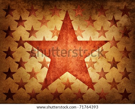 Red star on an ancient background - stock photo