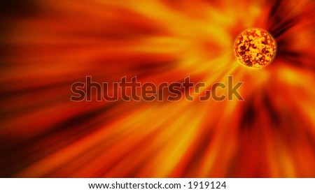 Red star sending light into space - stock photo