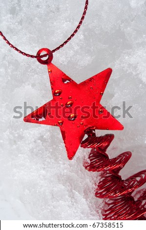 red star tree ornament - stock photo