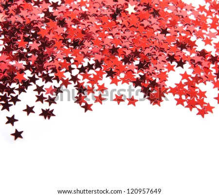 Red stars confetti isolated on white background - stock photo