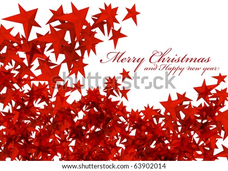 Red stars isolated  Merry christmas E-card on white background [new] - stock photo