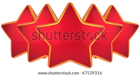 Red stars. Modern top level rating symbol. Best choice conception. High quality label design elements. This is a detailed 3D render. Isolated on white background - stock photo
