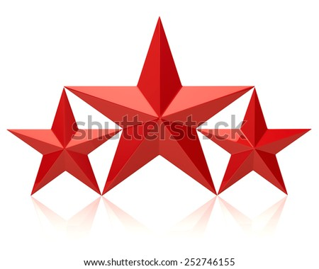 Red stars of the winners - stock photo