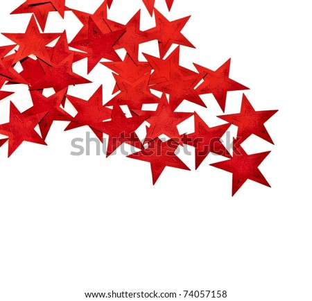 Red Stars  on a white background - stock photo