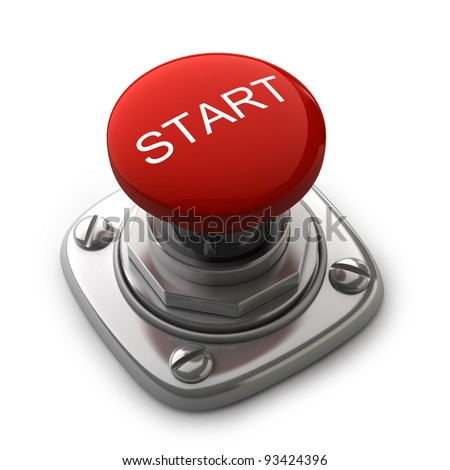 Red START button Isolated High resolution. 3D image - stock photo