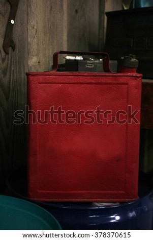 red steel petrol can - stock photo