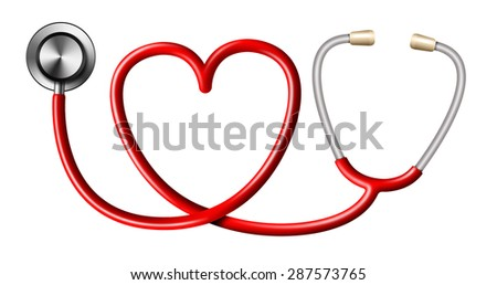 Red Stethoscope In Shape Of Heart on White Background - stock photo