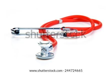 Red Stethoscope Isolated On White Background. - stock photo