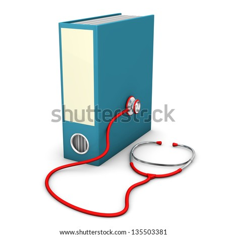 Red stethoscope with blue folder on the white background. - stock photo