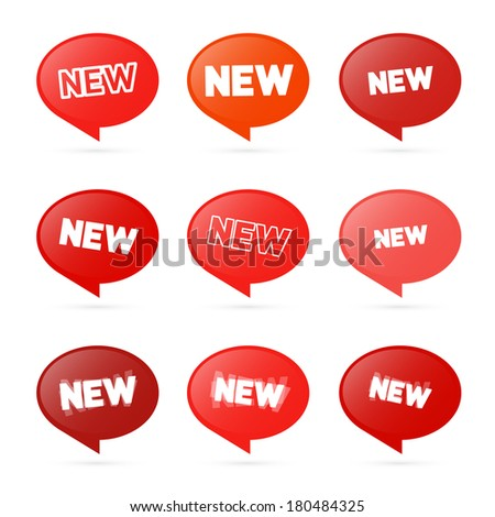 Red Stickers with New Title Isolated on White Background  - stock photo