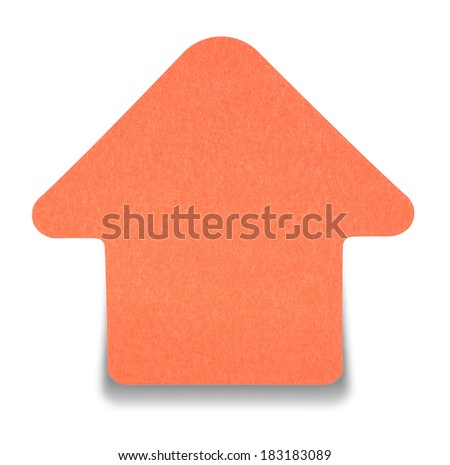 Red sticky note isolated on white background, with shadow down - stock photo