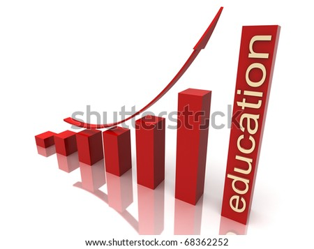 red stock chart with golden education  text