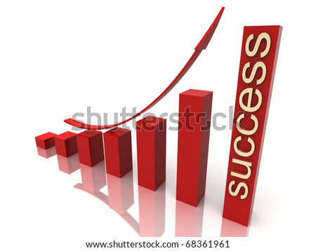 red stock chart with golden success text