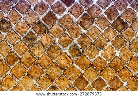 Red Stone Brick Wall Texture with copy space, may use as background - stock photo