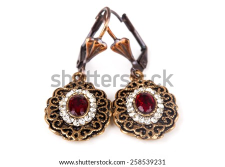red stone earrings - stock photo