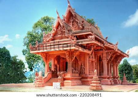 red stone temple on the Island of koh Samui, thailand - stock photo