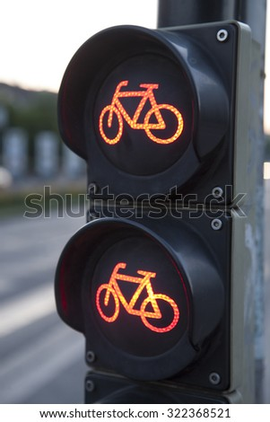 Red Stop Bike Traffic Light Sign - stock photo