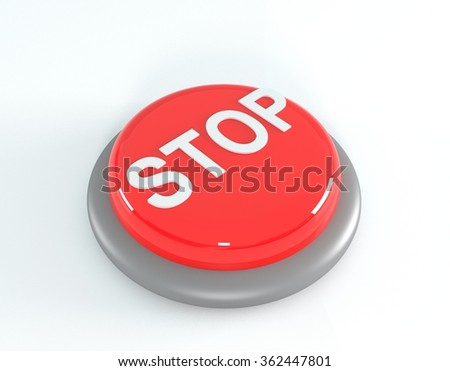 Red stop button. 3d illustration - stock photo