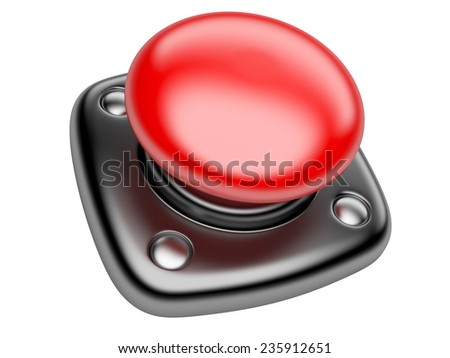 Red STOP button Isolated on white background 3d image - stock photo