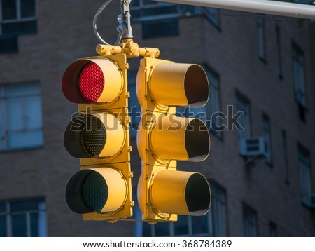 Red Stop Light - stock photo