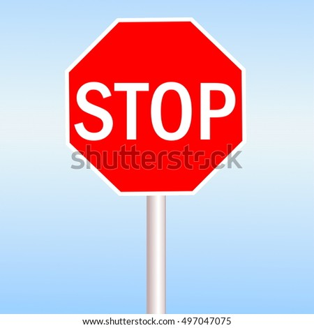 Red Stop sign in blue sky background