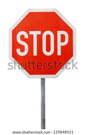 Red stop sign on a metal pole against white background - stock photo