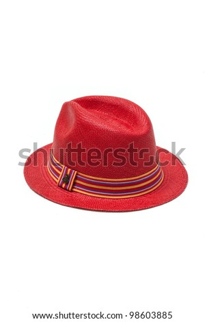 red straw hat with ribbon isolated on white background - stock photo