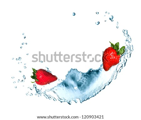Red strawberry fruits in flowing water on white background