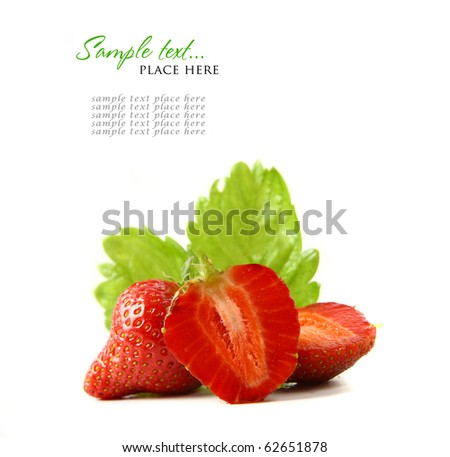 red strawberry fruits with green leafs isolated on white background (shallow DOF)