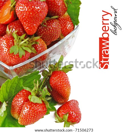 red strawberry fruits with green leafs isolated on white background (shallow DOF) - stock photo
