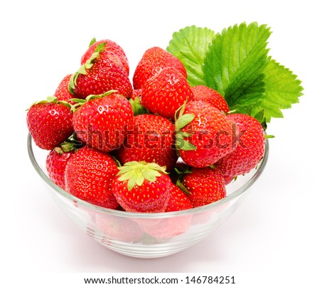 Red strawberry in the bowl isolated on white - stock photo