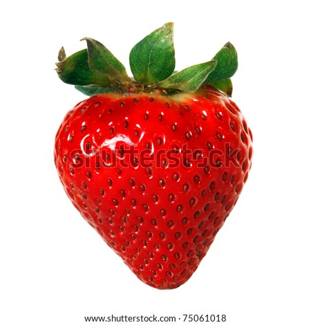 red strawberry isolated over white background - stock photo