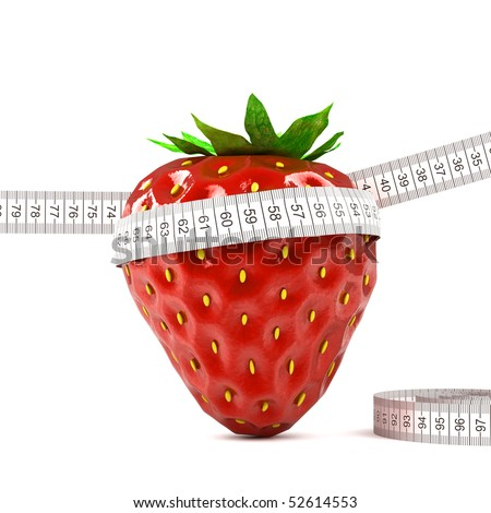 red strawberry on white background with meter - stock photo