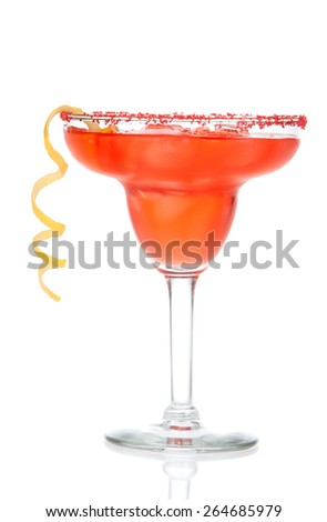 Red Strawberry or raspberry margarita cocktail in chilled salt rimmed glass with tequila orange syrup lemon spiral crushed ice in cocktails glass on white background - stock photo