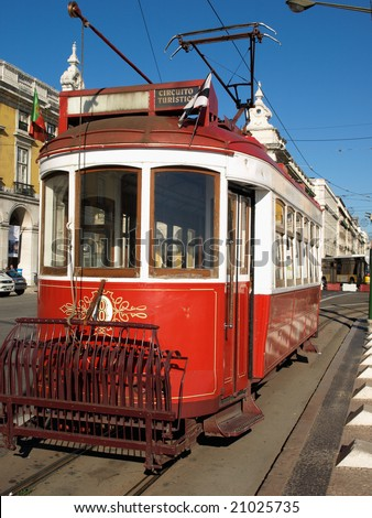 Red streetcar, Lisbon, Portugal - stock photo