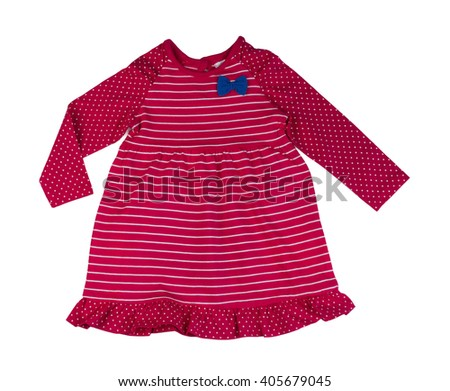 Red striped baby dress. Isolate on white. - stock photo