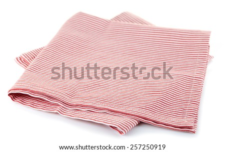 Red striped cotton napkin isolated on white background - stock photo