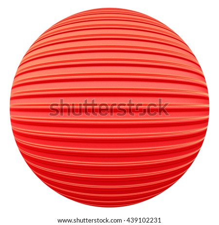 Red striped decoration ball - 3d illustration