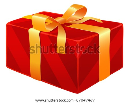 Red striped gift box with ribbon and knot bow. Vector available.