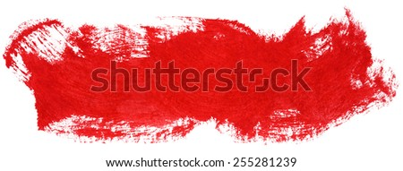 Red stroke of gouache paint brush isolated on white - stock photo
